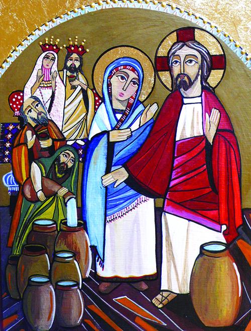 Suvremena koptska ikona s prikazom čuda u Kani Galilejskoj