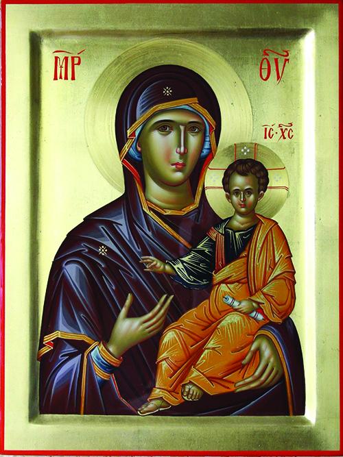 Ikona Bogorodice Hodegitrije (Putokazateljice) koja pokazuje na Krista, koji je Put, Istina i Život