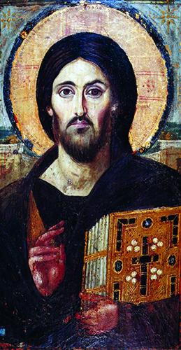 Ikona Krista Pantokratora (Svevladara) u nebeskoj slavi u kupoli ili apsidi obično dominira svetištem ili sredinom istočnih crkava