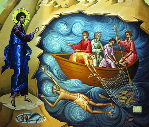 Ikonografski prikaz iz Evanđelja (spašavanje Petra, lov na Galilejskom moru i doručak s apostolima)