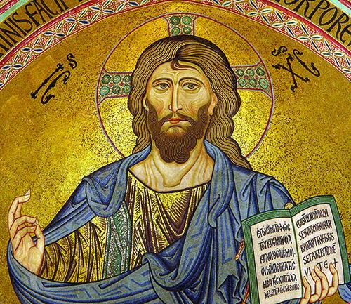 Mozaik Krista Svevladara u apsidi katedrale u Cefalu (Sicilija), 11-12. st.. Krist drži otvorenu stranicu Ivanova evanđelja s natpisom Ja sam svjetlost svijeta