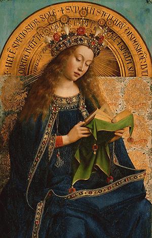 Djevica Marija, autor: Jan Van Eyck (dio oltara u Ghentu, 1432.)