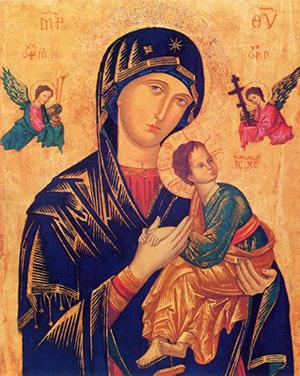 Gospa od Neprestane Pomoći, bizantinska ikona (vjerojatno iz 13. ili 14. st.)
