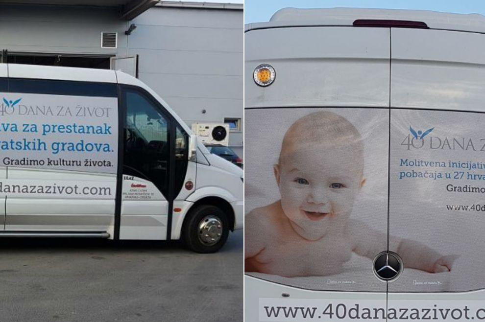 Članovi inicijative '40 dana za život' minibusom šire 'pro-life' poruke