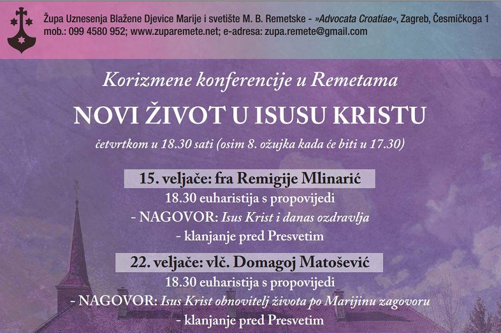 """""""Novi život u Isusu Kristu"""" - korizmene konferencije u svetištu Majke Božje Remetske"""