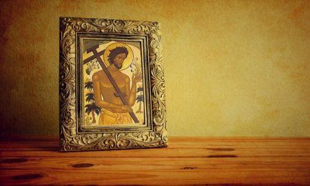 Sveti Dizma – obraćeni razbojnik, razapet s desne strane Isusova križa