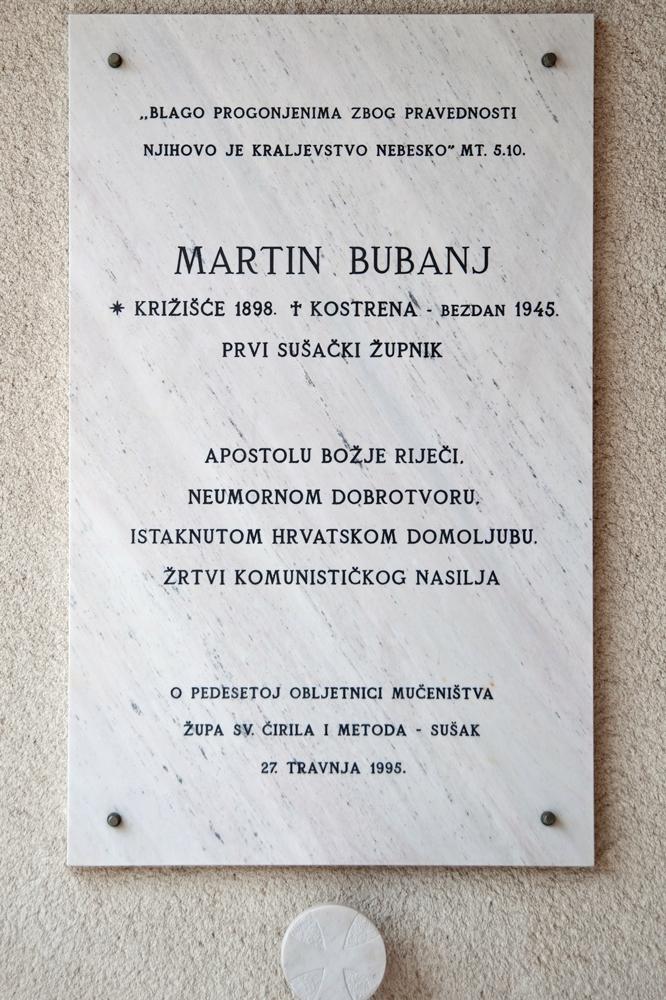 Spomen-ploča Martinu Bubnju u predvorju crkve Presvetog Srca Isusova časnih sestara sv. Križa na Sušaku u Rijeci