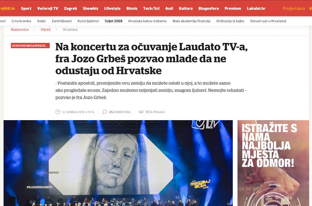 Večernji.hr o duhovnom spektaklu