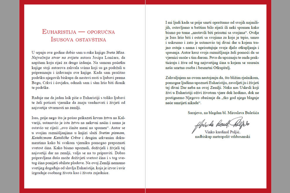 NAJAVLJUJEMO Za drugo izdanje knjige o Svetoj Misi predgovor napisao kardinal Vinko Puljić