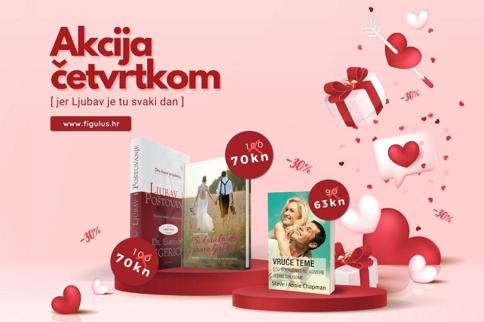 POPUST ČETVRTKOM Uoči Valentinova - tri naslova snižena 30%: Ljubav i poštovanje, Tri koraka do prave ljubavi i Vruće teme